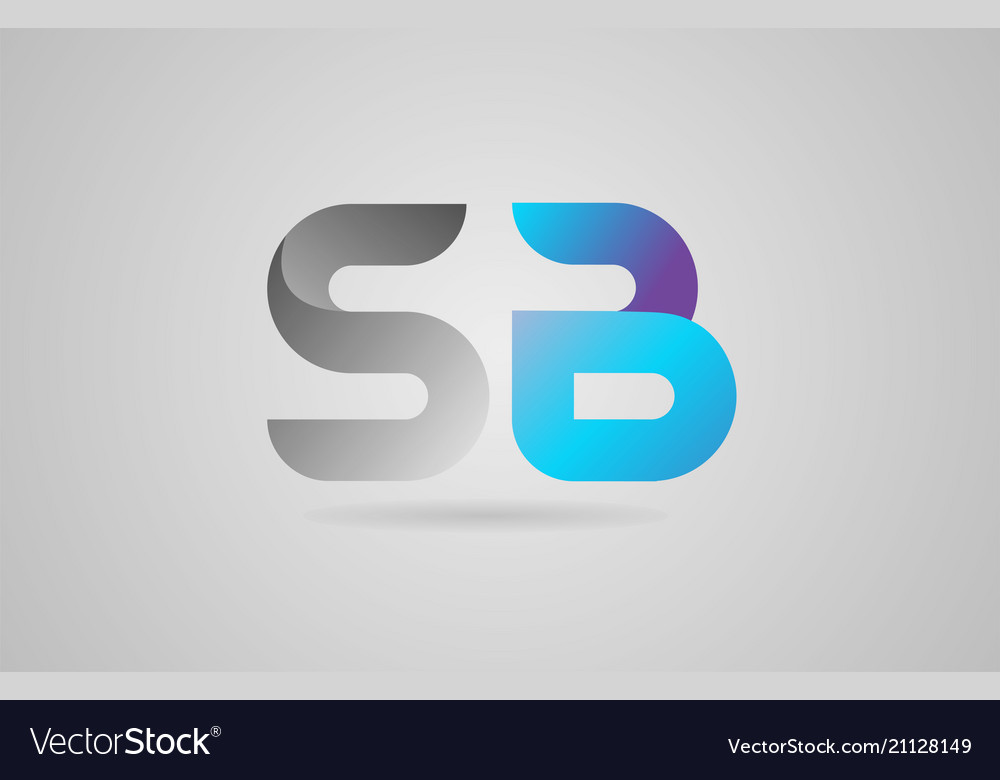 Grey blue alphabet letter sb s b logo icon design
