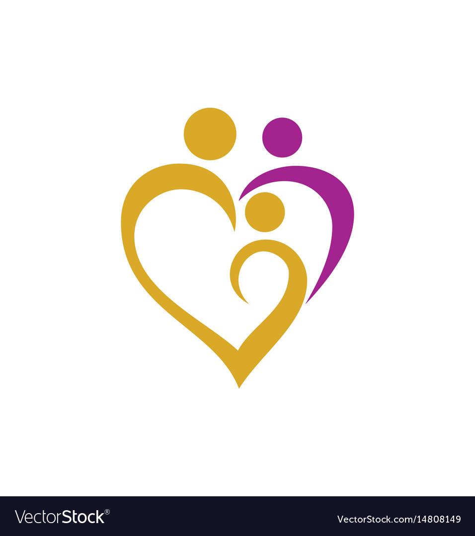 heart love family logo royalty free vector image