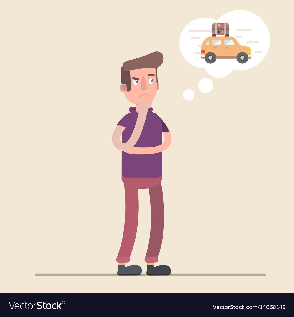 Man dreams of a car money to spend vector image