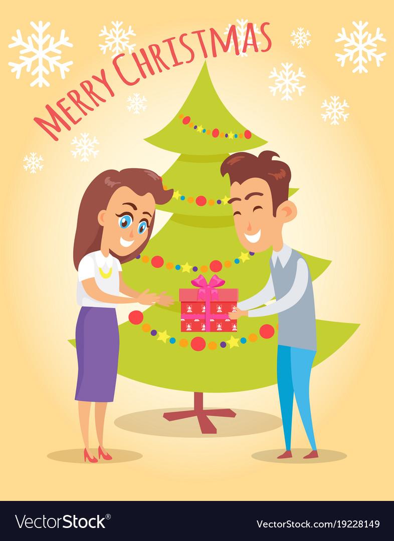merry christmas poster husband give present wife vector image - Merry Christmas Husband