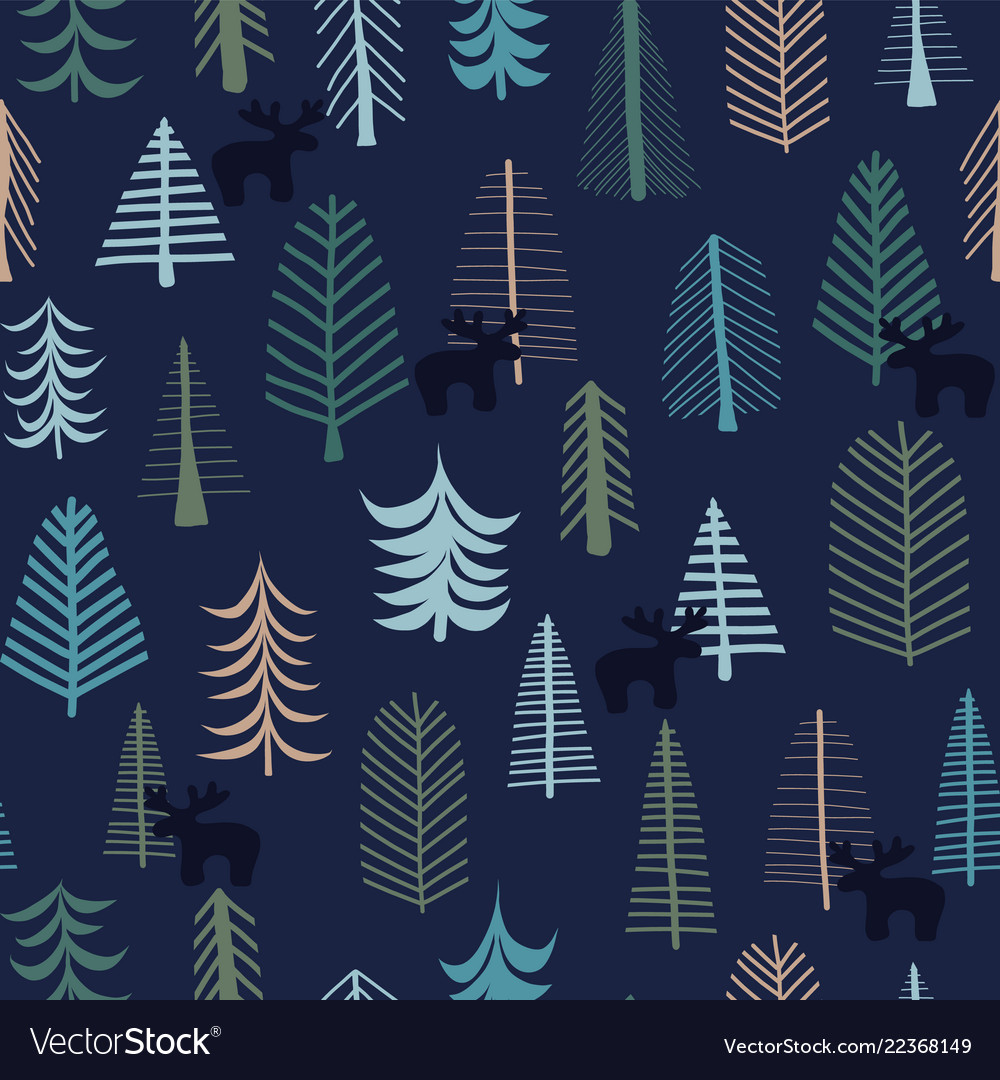 Reindeer and trees christmas seamless pattern