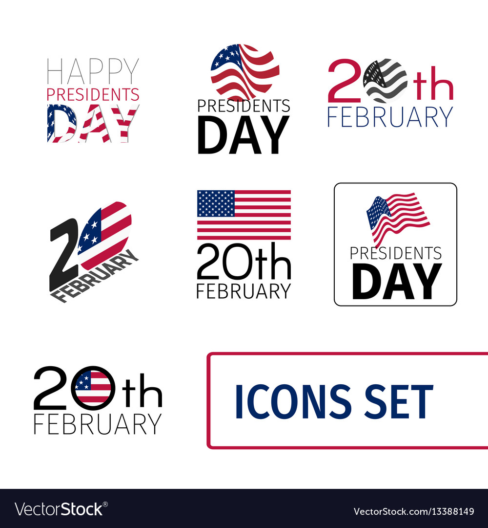 Set of icons for the presidents day of united