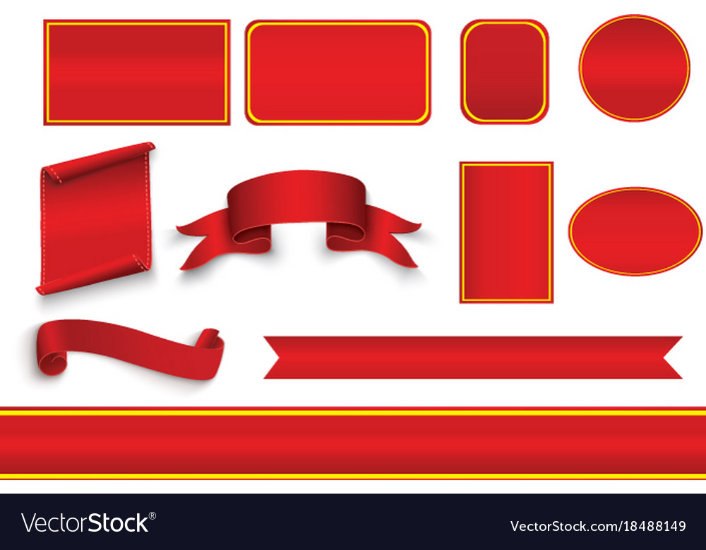 Set of red curved paper blank banners isolated on