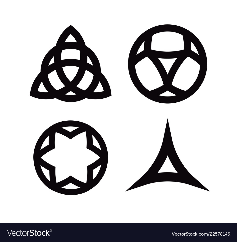 Set of wiccan symbols and icons isolated on