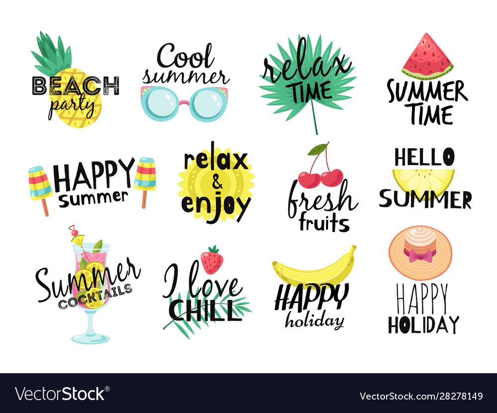 Summer labels beach vacation summer travel