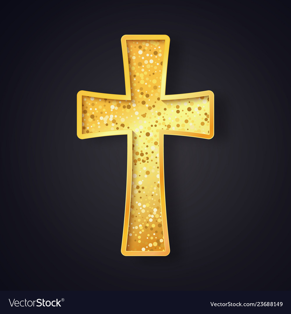 Textured gold catholic cross isolated object on