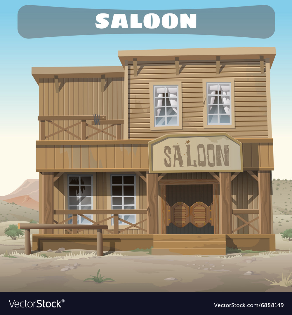 Wooden classic saloon in wild West story series