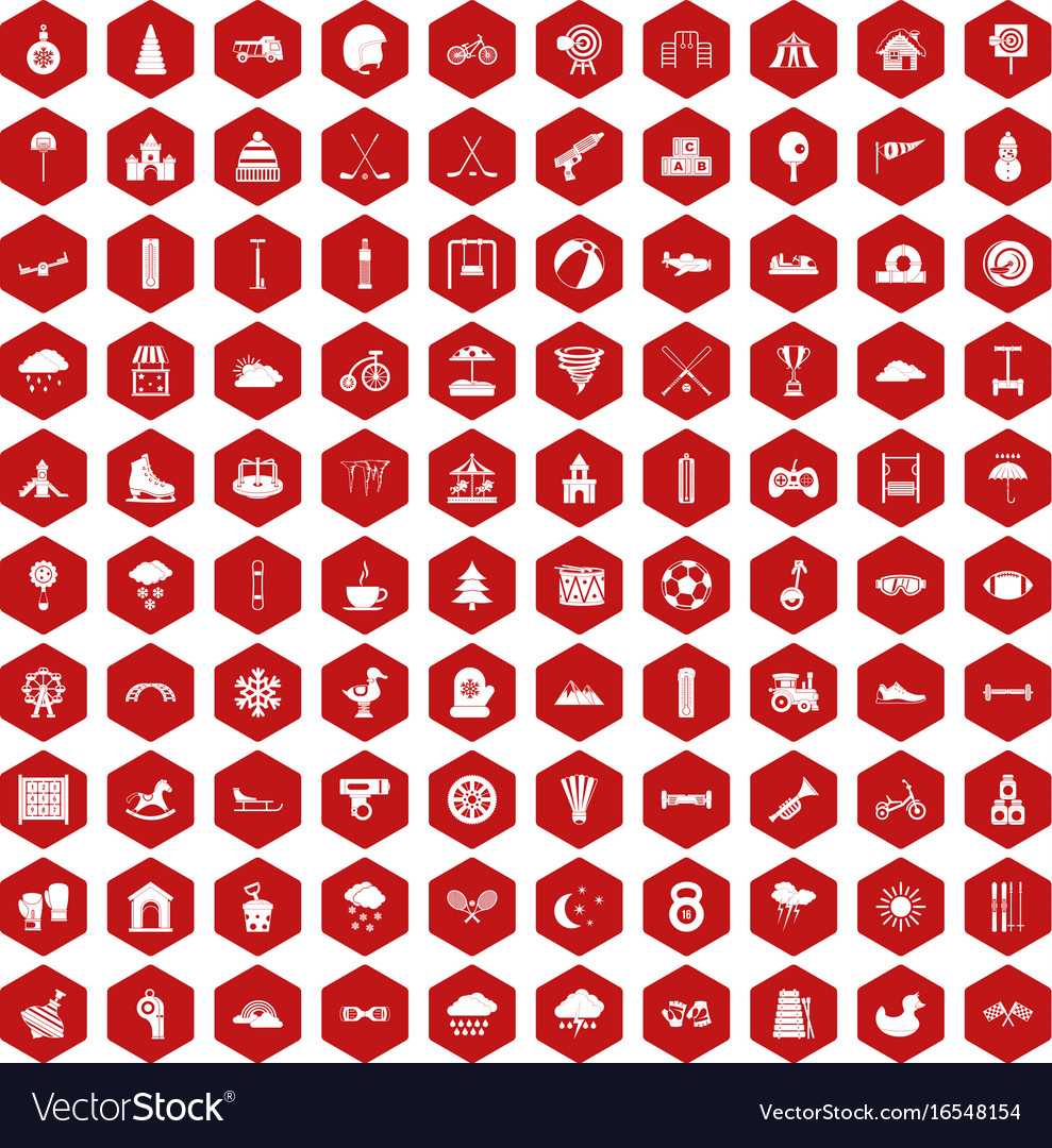 100 kids games icons hexagon red
