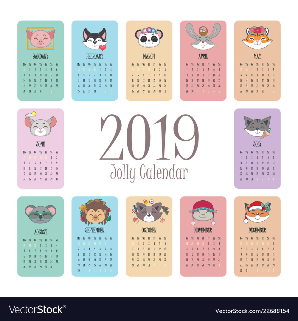 Animal 2019 Calendar 2019 calendar with jolly animal faces Royalty Free Vector