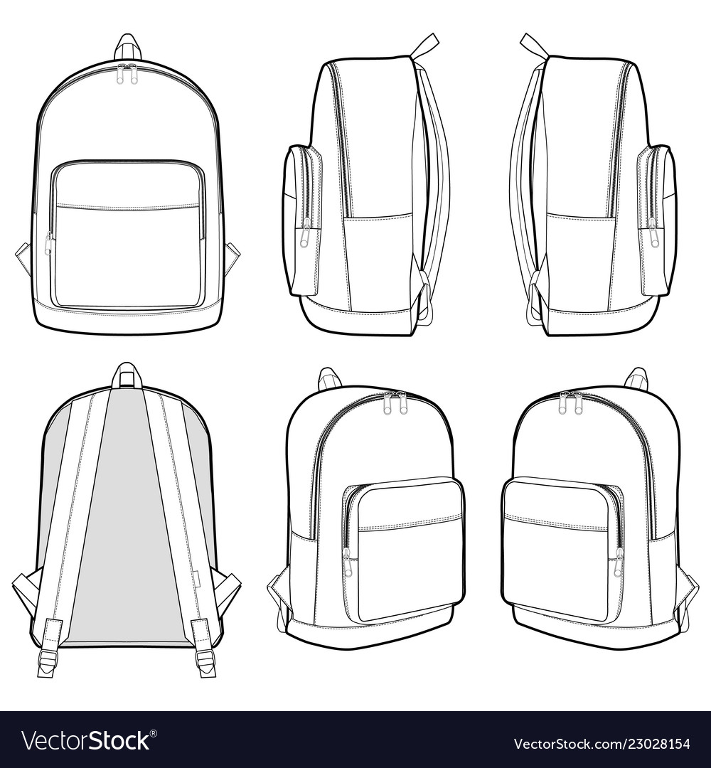 Backpack Fashion Flat Technical Drawing Template Vector Image
