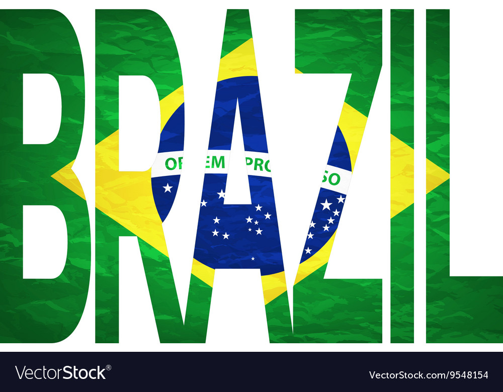 Brasil 2014 Letters with Brazilian Flag