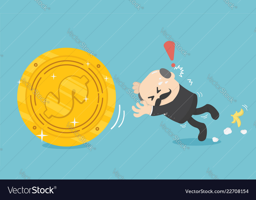 Business concept businessman missed his fall and