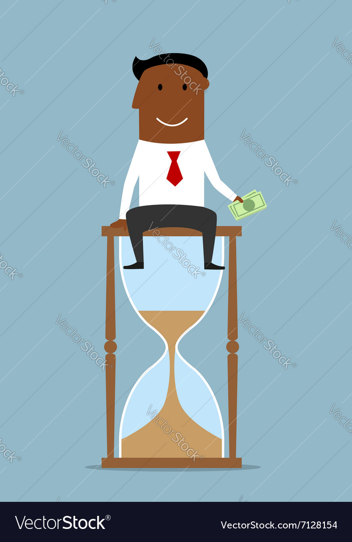 Businessman sitting with money on hourglass