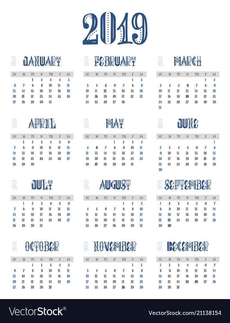 C calendar 2019 week starts from sunday business