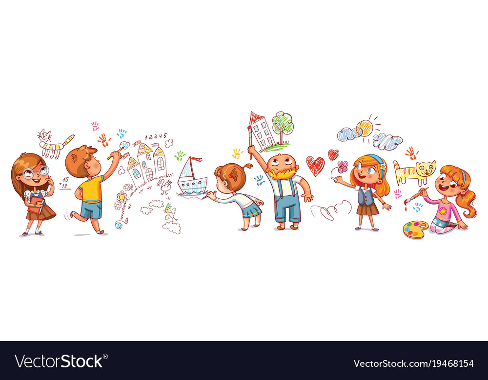 Cute kids paint drawings on the wall Royalty Free Vector
