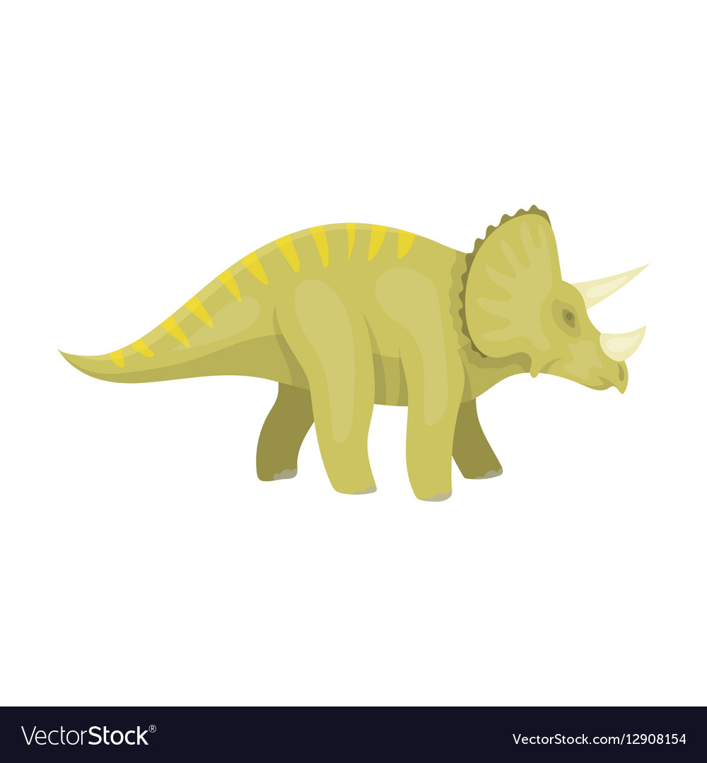 Dinosaur Triceratops icon in cartoon style
