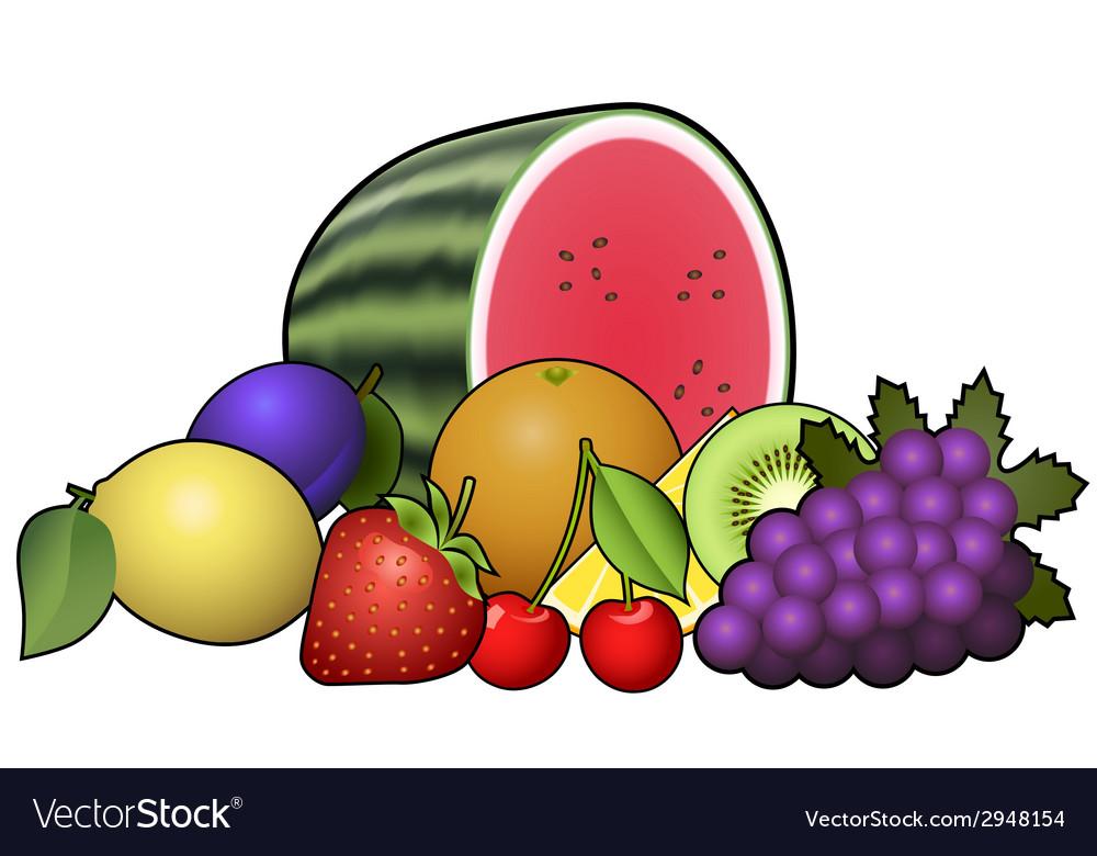 Fruits heap vector image