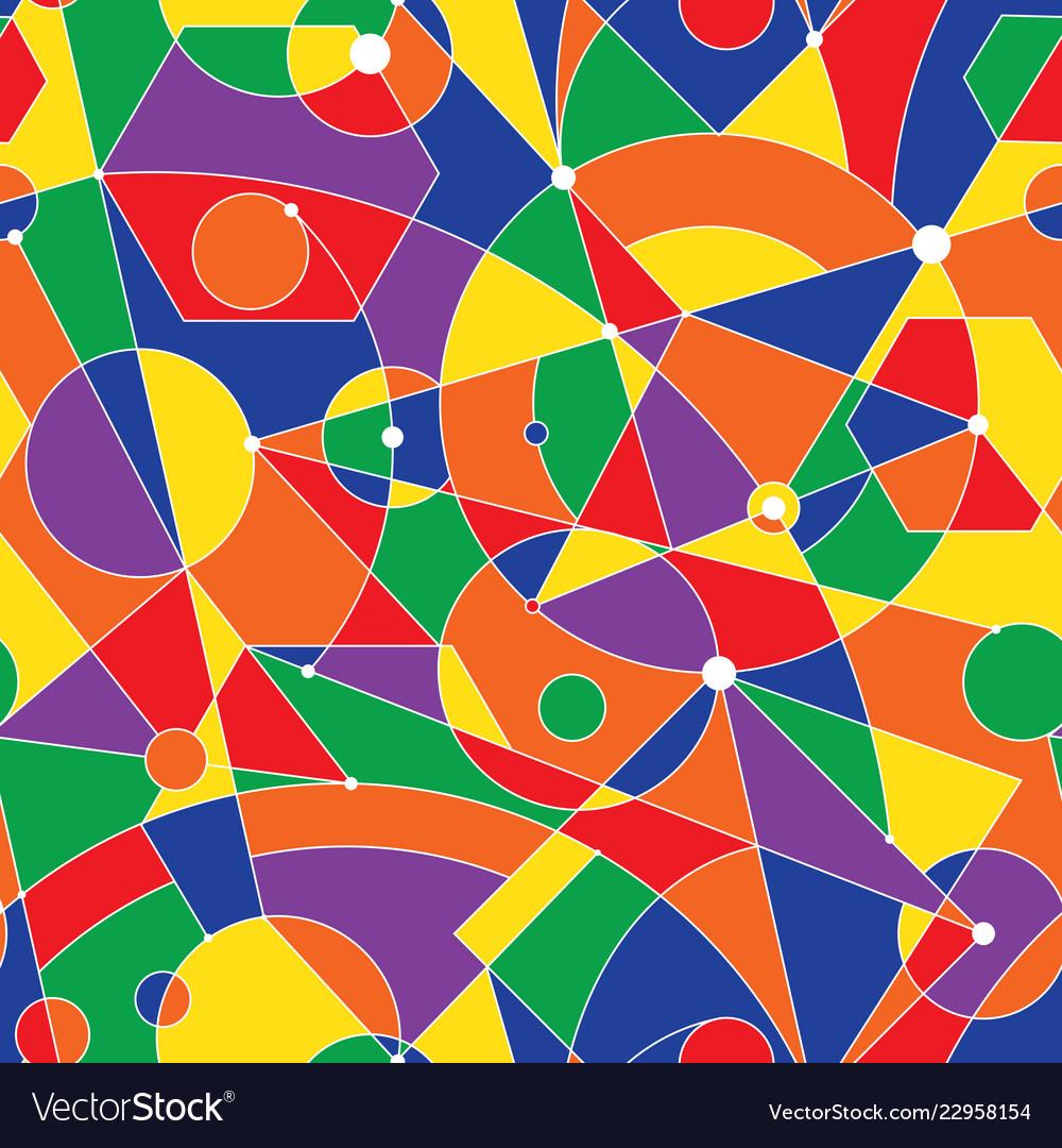 Grid seamless pattern with random geometric