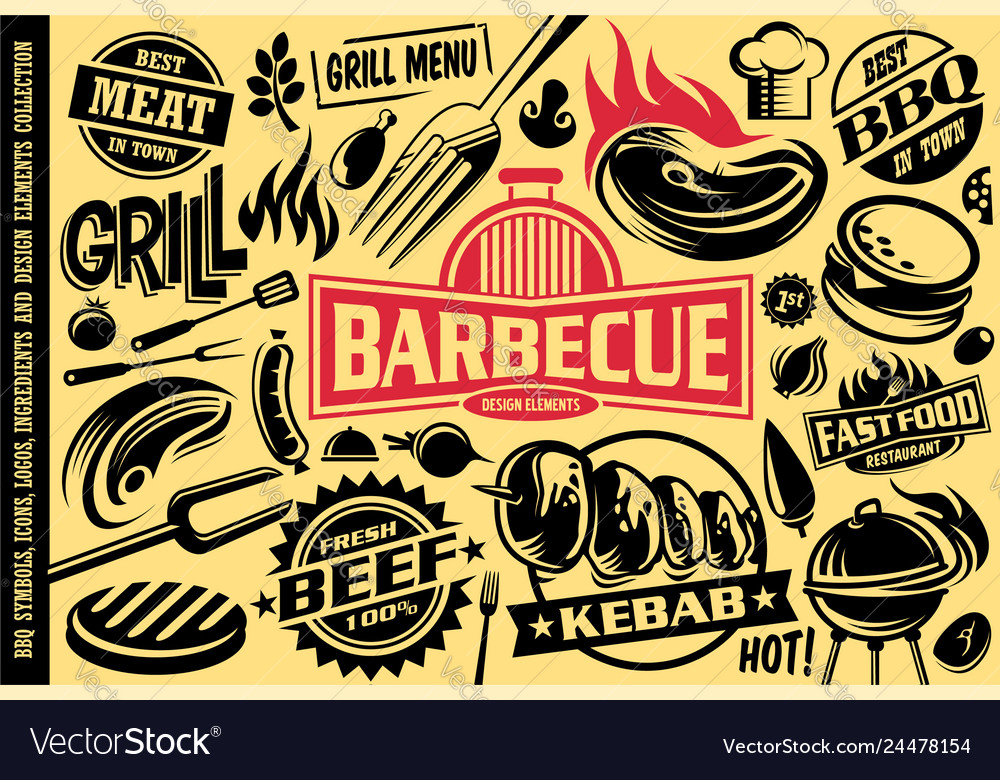 Grill and barbecue symbols iconslabelslogos and