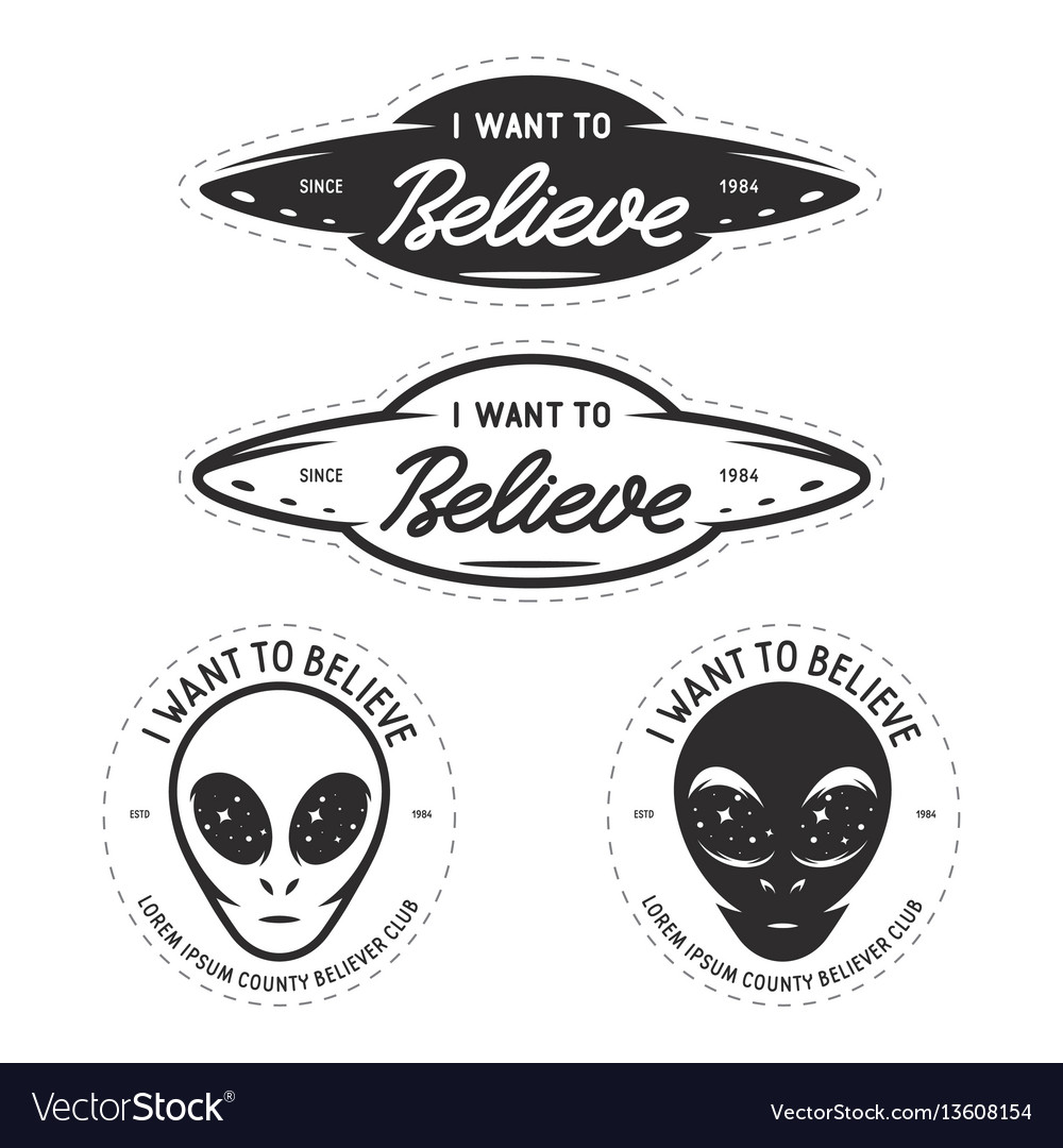 I want to believe patches set vintage