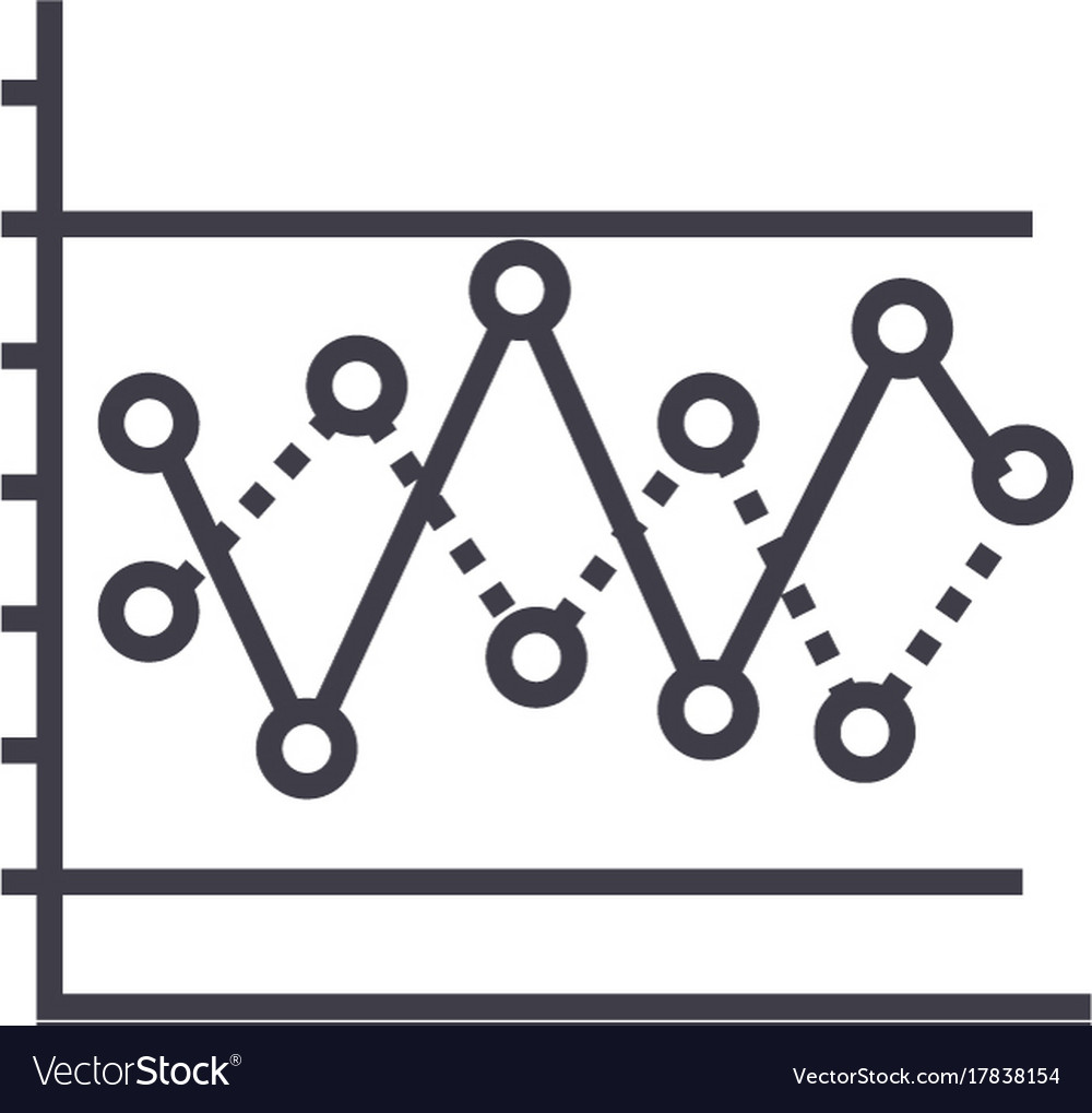 Line graph with points line icon sign