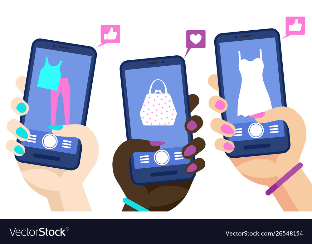 Phone shopping online concept hands