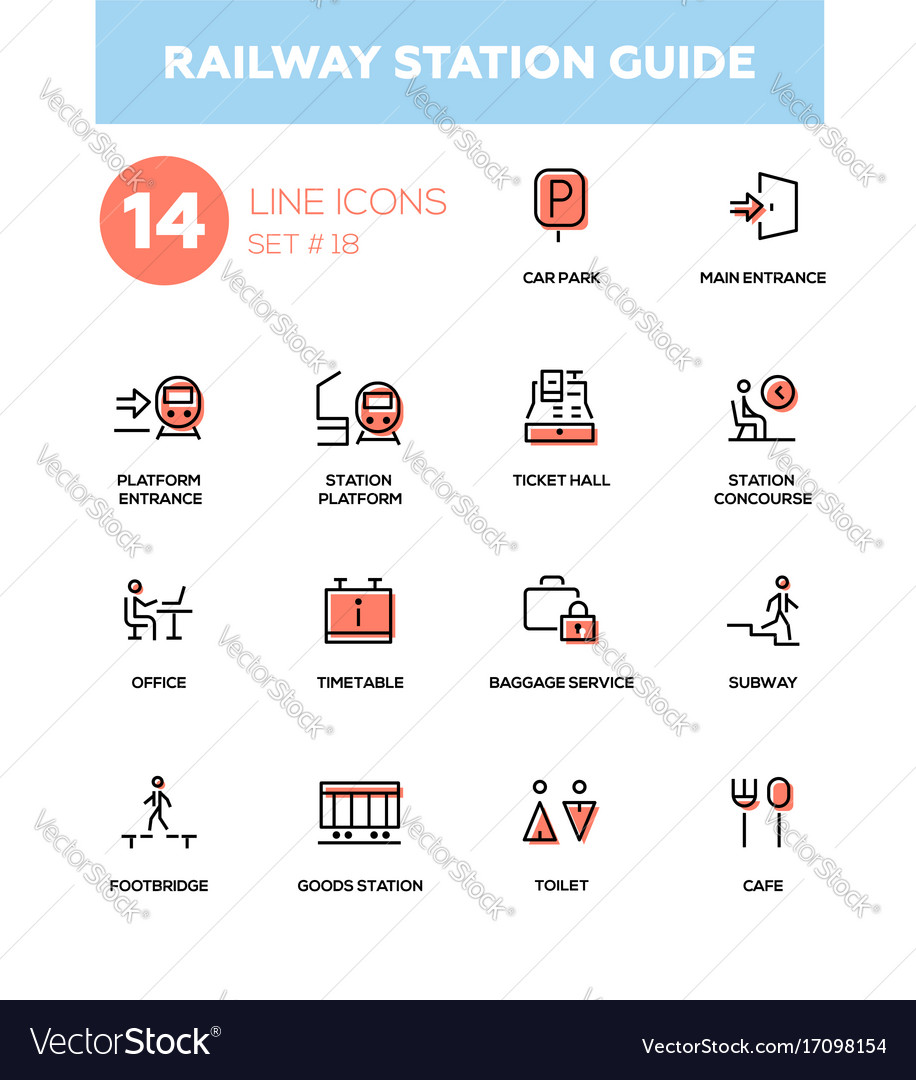 Railway station guide - modern simple icons