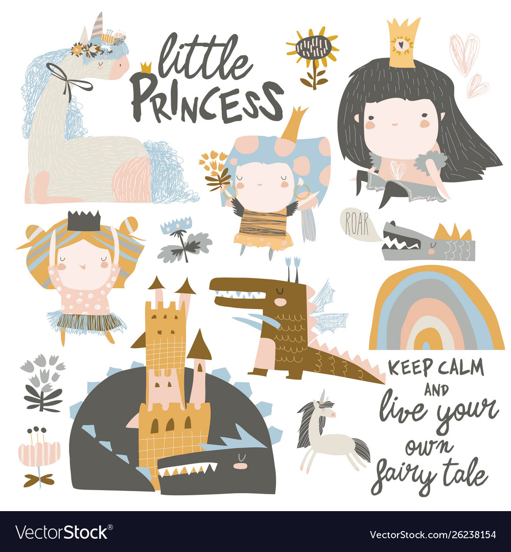 Set cute little princesses dragons and magic
