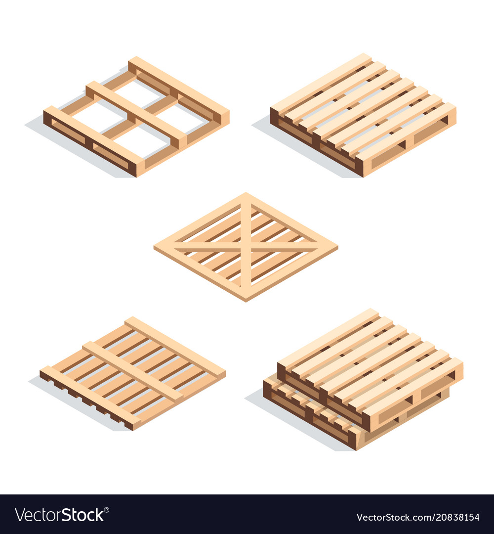 Set of isometric wooden pallets