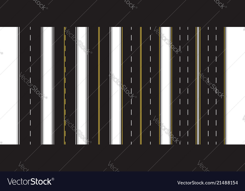 Set of seamless road marking on a white isolated