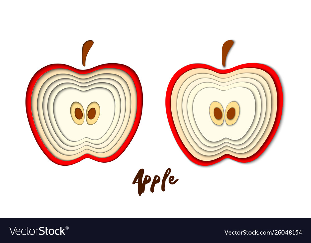 Set Paper Cut Red Apple Cut Shapes 3d Abstract