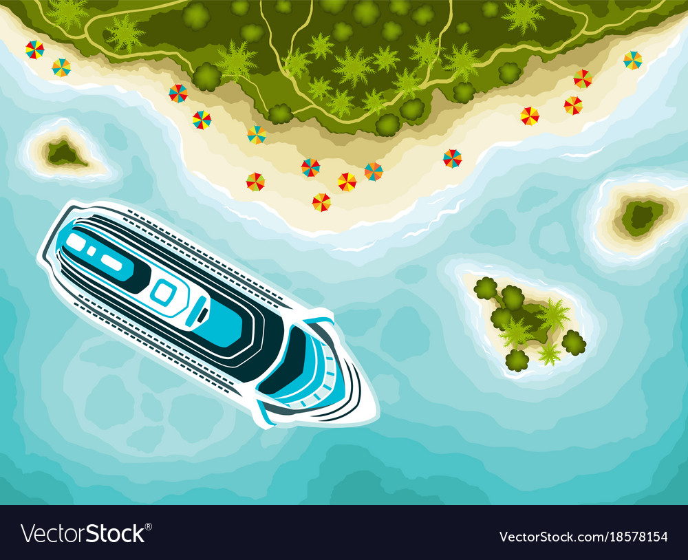 Tropical islands top view and cruise ship