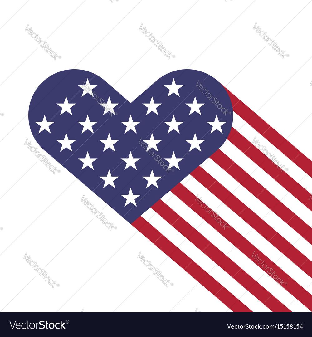 Usa flag hearts shape
