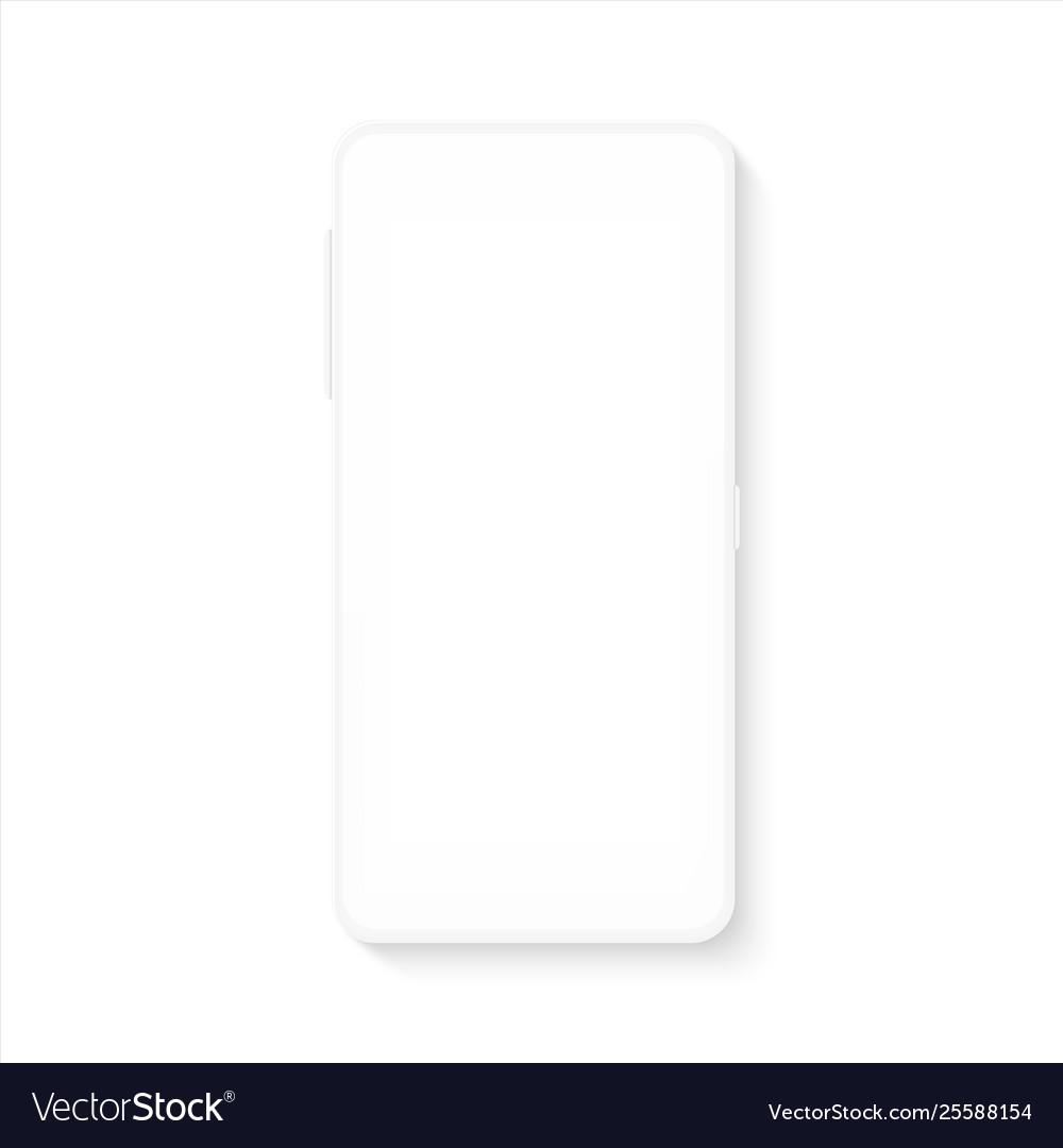 White smartphone mockup realistic blank mobile