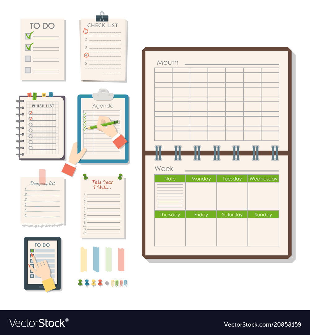 Agenda list business paper clipboard in