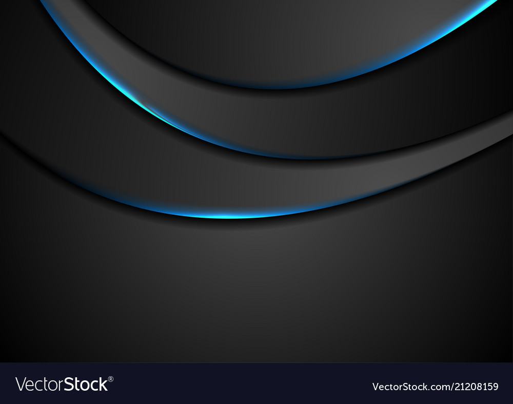 Black abstract wavy background with blue neon