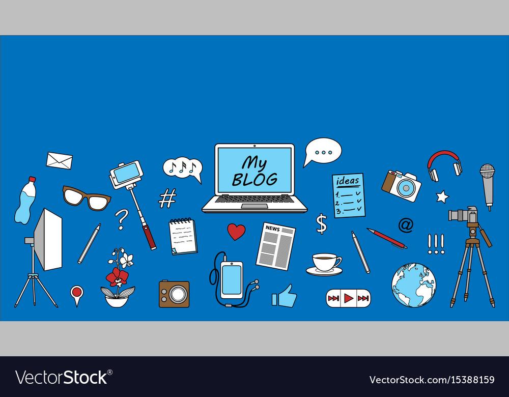 Blog seamless border vector image