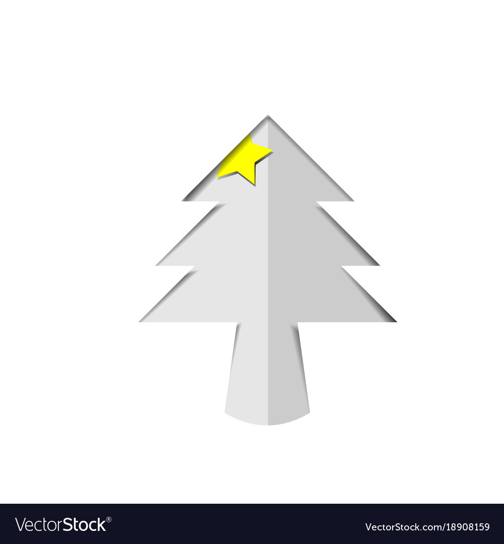 Christmas Tree Cutout.Christmas Tree White Paper Cutout With Star