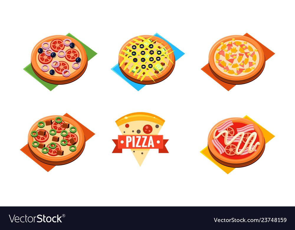 Collection of whole pizza with different