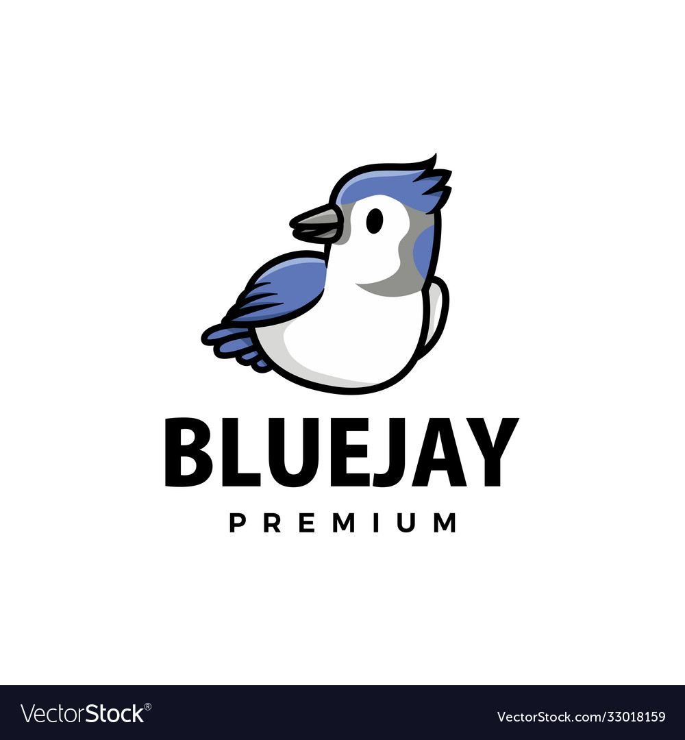 Cute blue jay cartoon logo icon