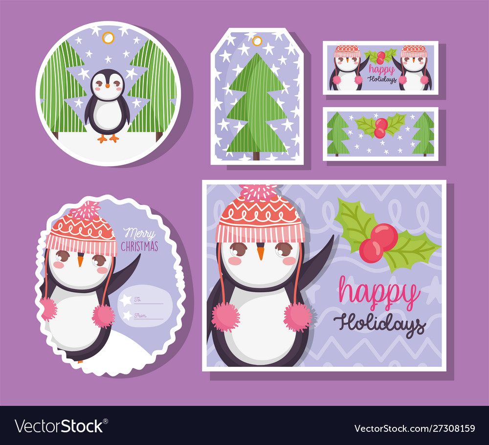 Cute penguin happy merry christmas tags