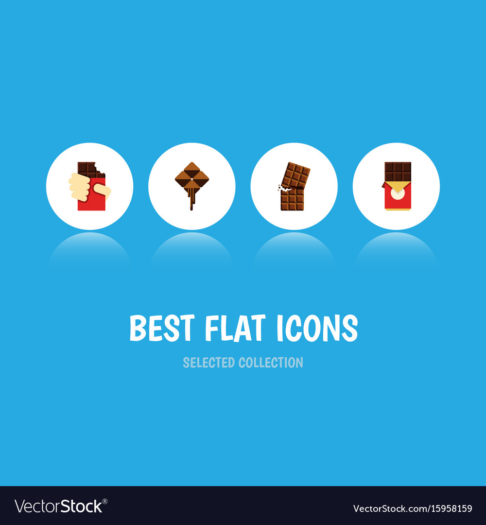 Flat icon sweet set of delicious chocolate bar