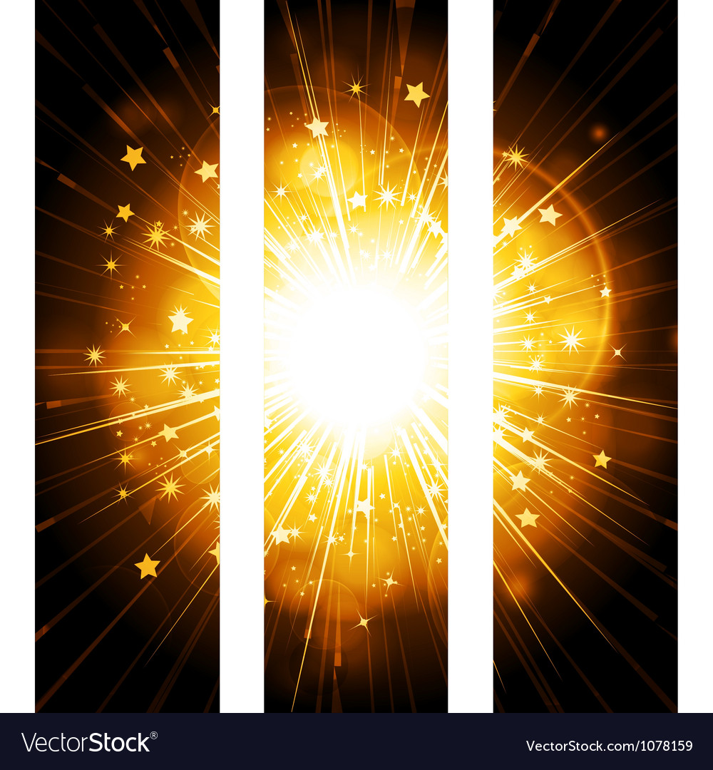 Glowing stars banner background vector image