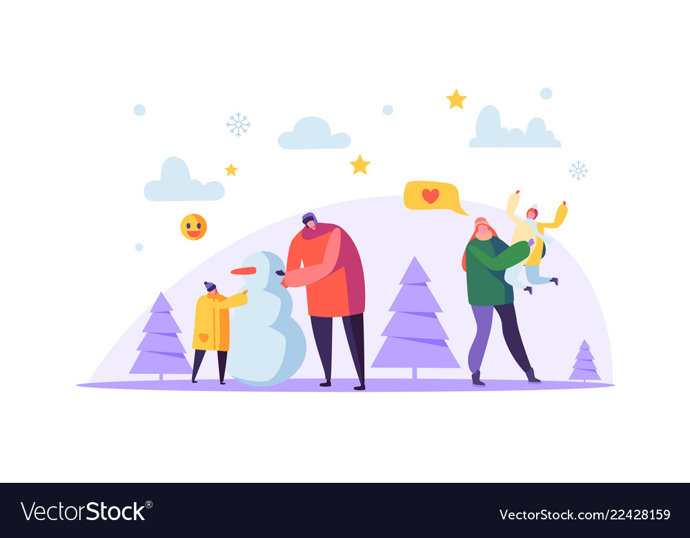 Happy family characters making snowman on winter