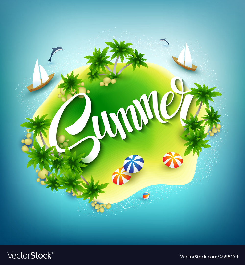 Headline Summer Tropical island in the blue sea