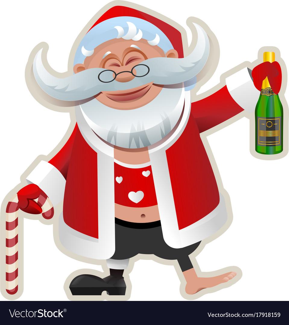 merry christmas fun drunk santa claus holding vector image - Drunk Christmas