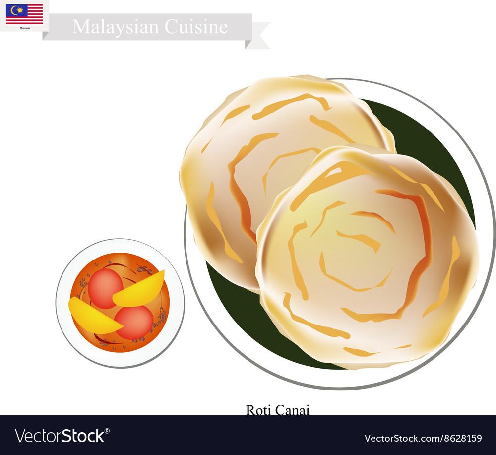 Roti Canai or Malaysian Flat Bread vector image