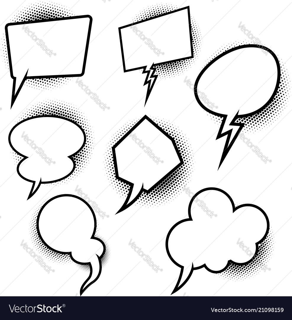 Set of empty pop art comic style speech bubbles