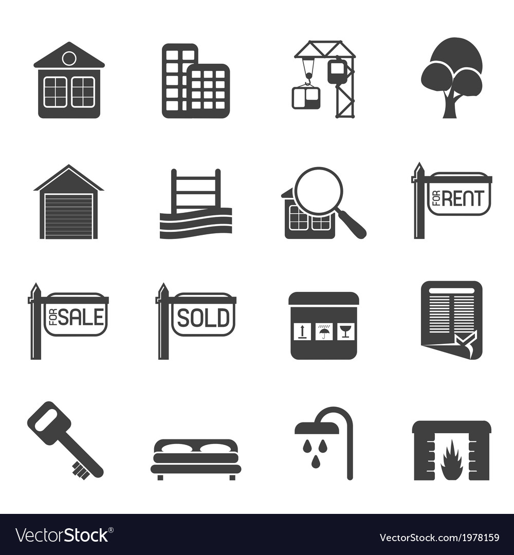 Simple Real Estate Icons vector image