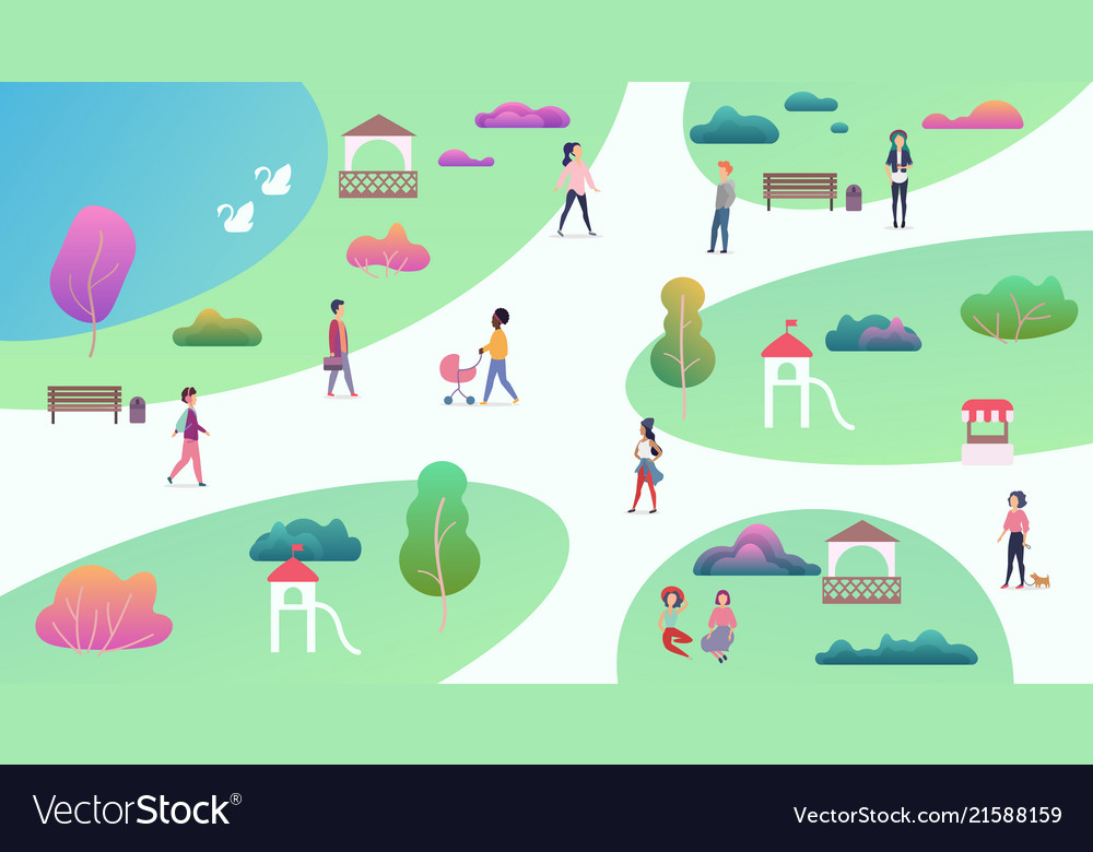 Top map view various people at park walking and